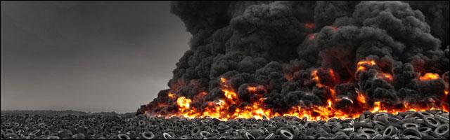 photo journalisme Koweit incendie 5 millions pneus feu criminel feuk ecologie