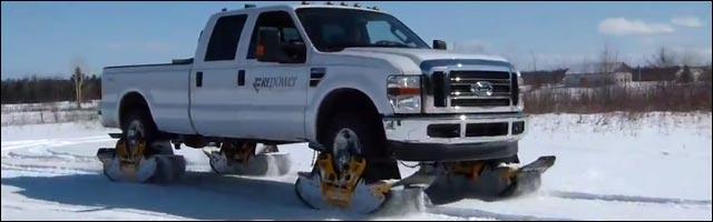 installer chenilles de neige sur voiture pour hiver tuning extreme 4x4 americain
