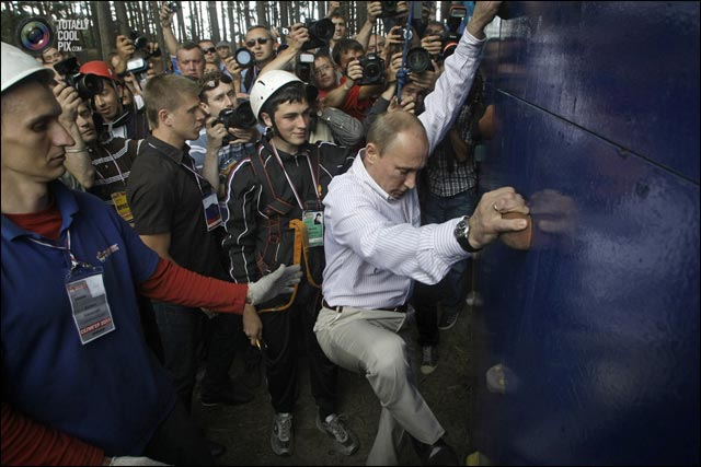 photo Vladimir Poutine alpiniste mur escalade demonstration talent Action Man