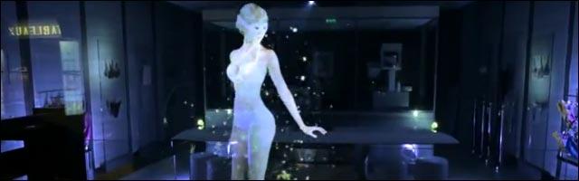 video femme sexy en lingerie est un fake mannequin hologramme pub Empreinte