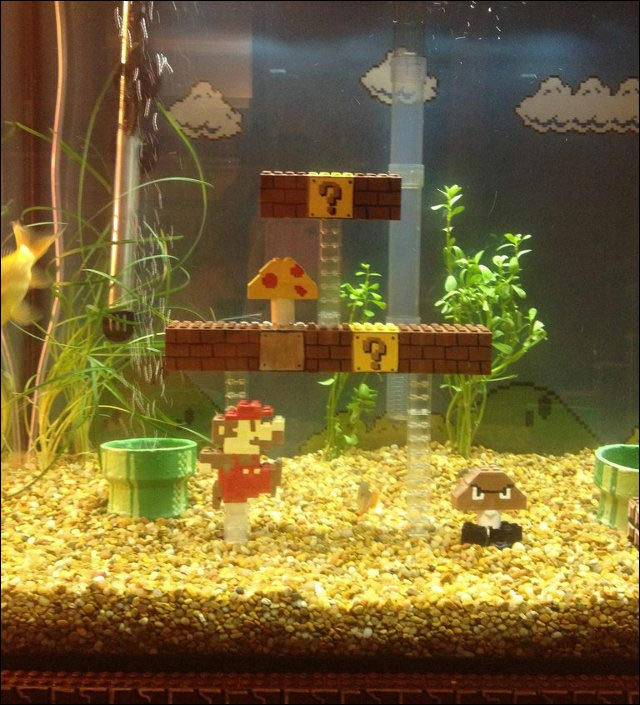photo video aquarium Lego Super Mario Bros monde sous marin