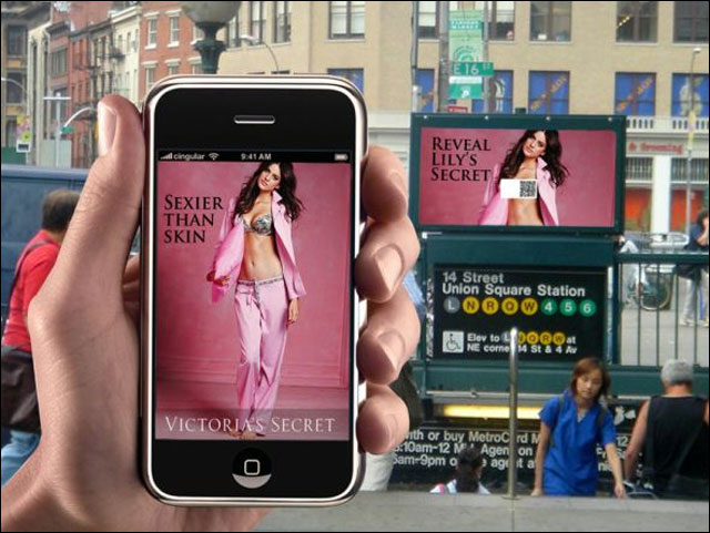 publicite street marketing Victoria Secret qrcode lingerie fine sexy gratuite smartphone