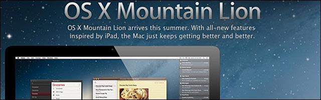 Mac OSX Mountain Lion logo liste modeles compatibles sortie ete 2012
