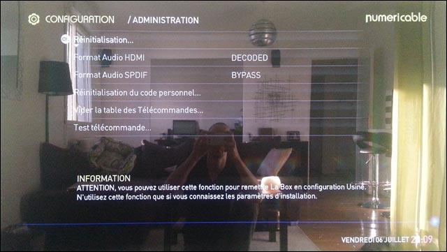 La Box Numericable acceder menu cache parametre configuration administration