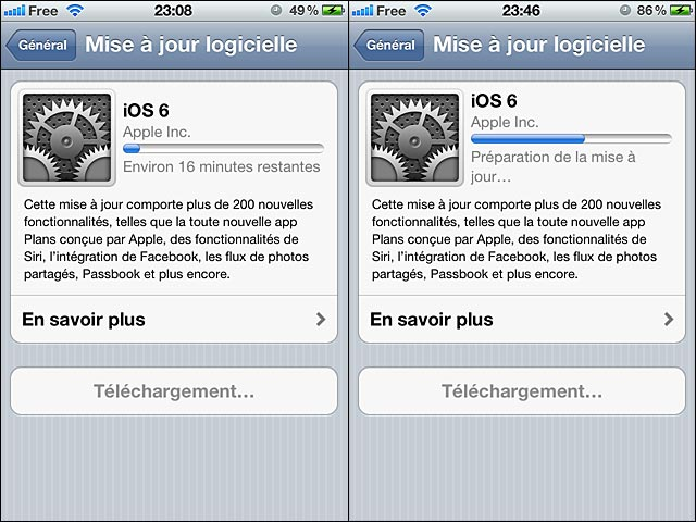 installation iOS6 OTA On The Air capture ecran depuis iPhone 4