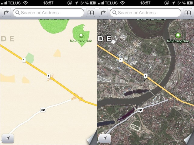 iPhone 5 iOS6 application Plans Maps failed resultat complement faux