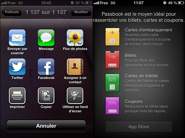 iOS6 partage photo et details Passbook
