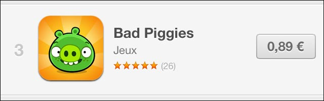 Apple AppStore augmentation prix application Angry Birds Bad Piggies