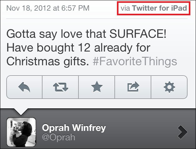 Oprah Winfrey tweet failed