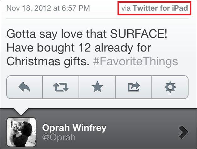 Oprah Winfrey tweet failed