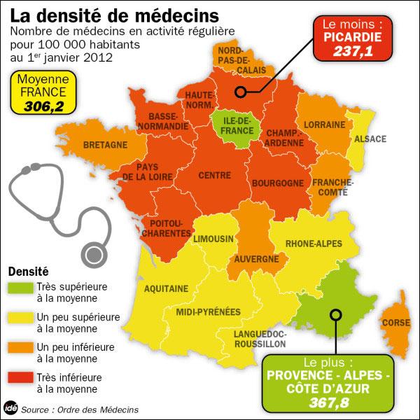 carte de France des deserts medicaux