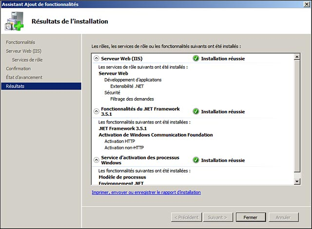 installation NET Framework 35 sur Windows Server 2008 R2