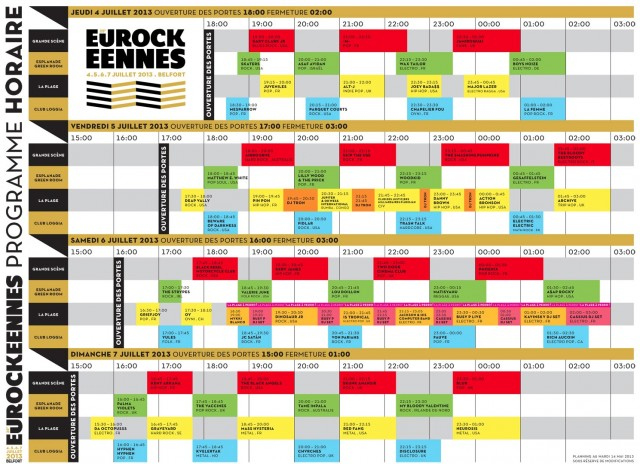 Belfort Eurockeennes 2013 programme complet horaire running order