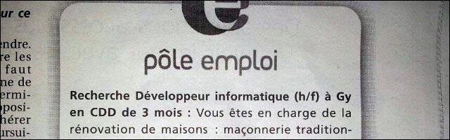 annonce offre Pole Emploi developpeur macon informaticien BTP