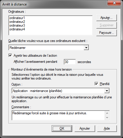 commande shutdown arreter redemarrer ordinateur reseau Windows