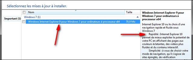 Internet Explorer 10 mise a jour Windows Update IE10