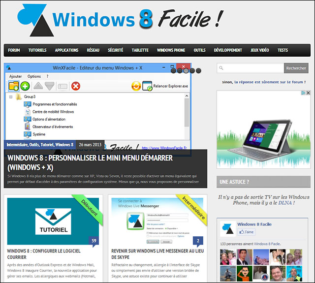 WindowsFacile tutoriel pour Windows Facile forum aide utilisation Windows 8