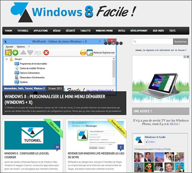 WindowsFacile tutoriel pour Windows Facile forum aide utilisation Windows 8