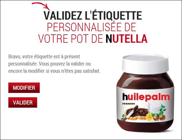 etiquette prenom nom pot Nutella huile de palme