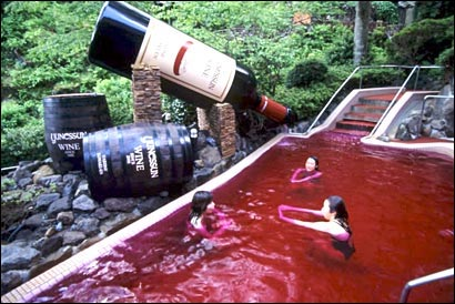 Japon insolite piscine spa vin rouge France