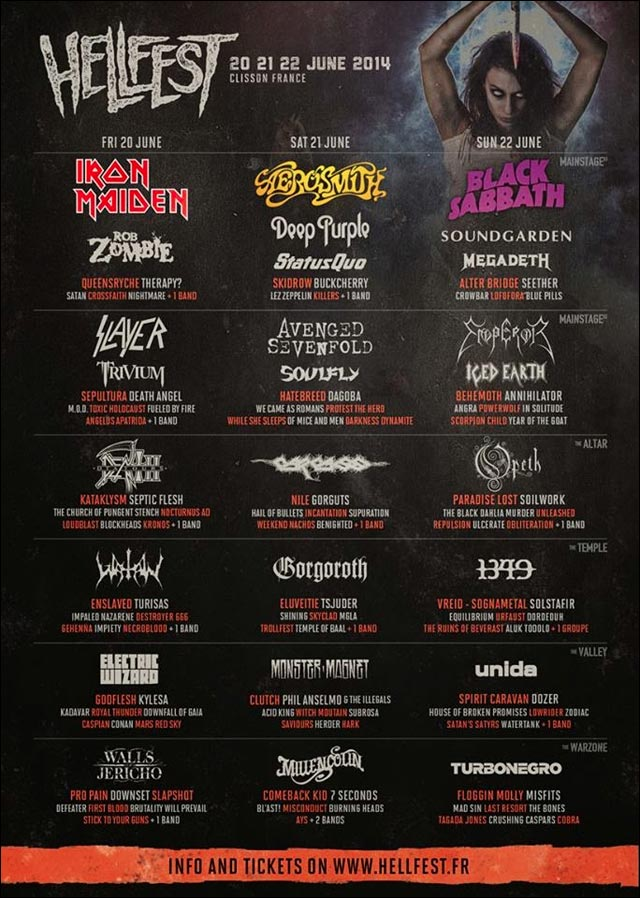 France festival HELLFEST 2014 affiche programme officiel complet lineup