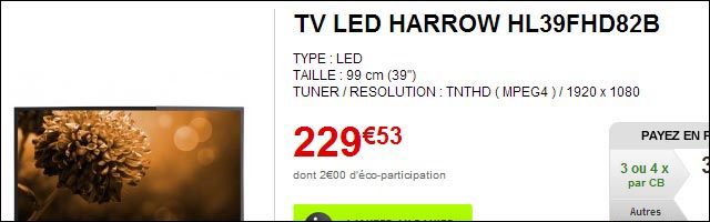 test photo TV Harrow HL39FHD82B ElectroDepot