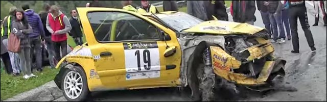 video crash Clio RS Rallye Aoste Italie