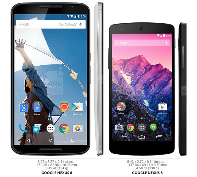 photo smartphone Google Nexus 6 vs 5