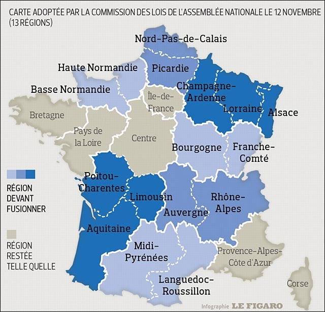 carte France 13 regions