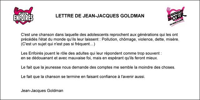 Jean-Jacques Goldman lettre Enfoirés Toute la vie