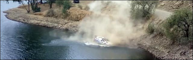 Rallye WRC du Mexique sortie de route lac photo video