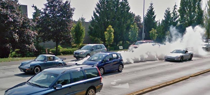 porsche 911 burn google maps