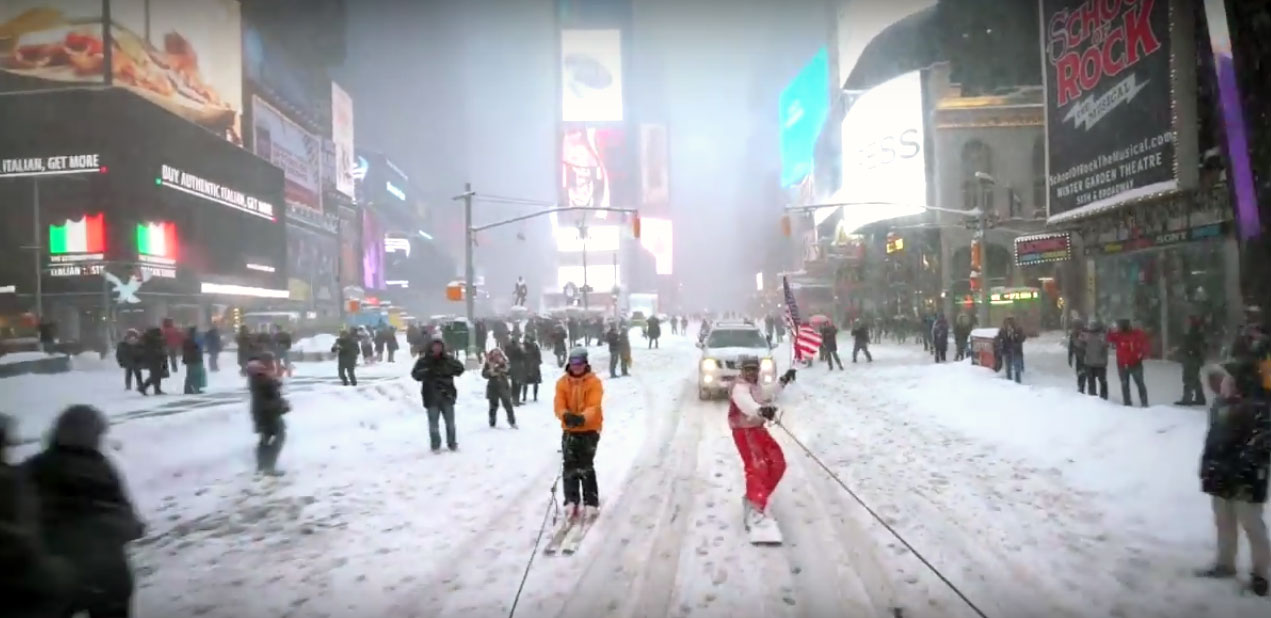 New York video snowboard Times Square