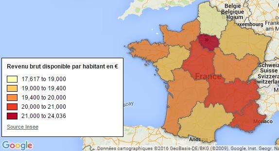 carte de France richessse region