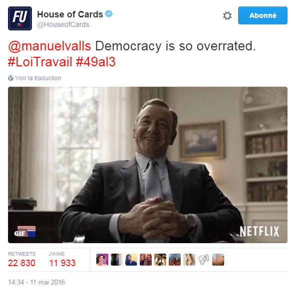 Franck Underwood (House of Cards) vs Manuel Valls