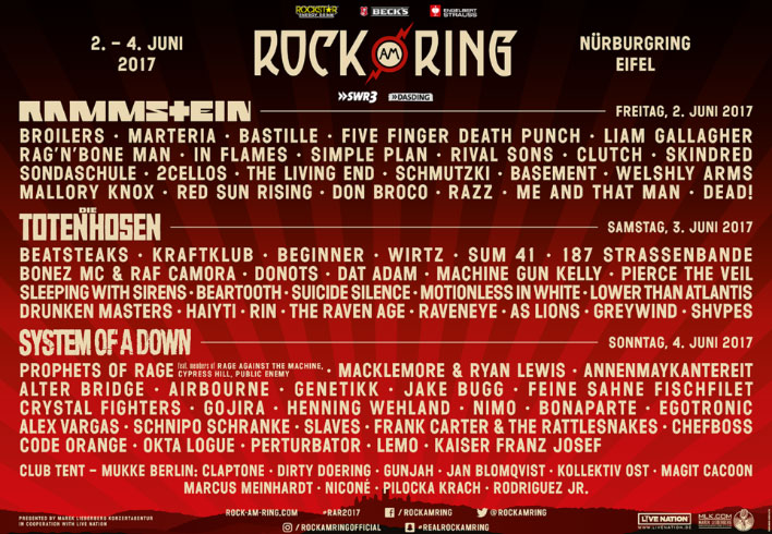 Programme complet Rock am Ring et Rock im Park 2017