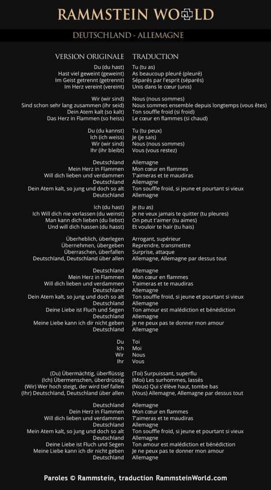 rammstein deutschland lyrics paroles traduction