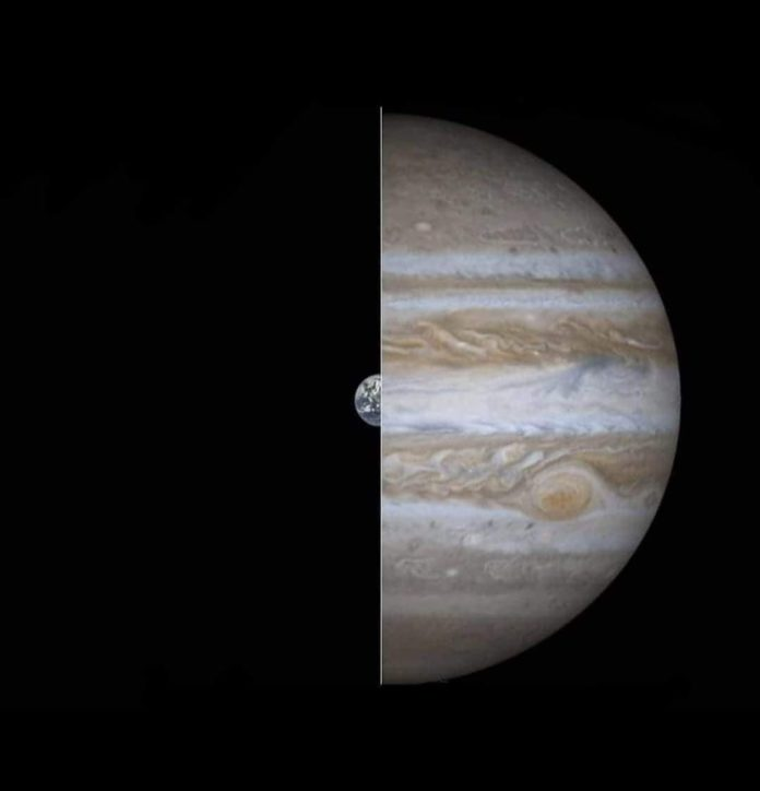 photo diamètre taille terre vs jupiter